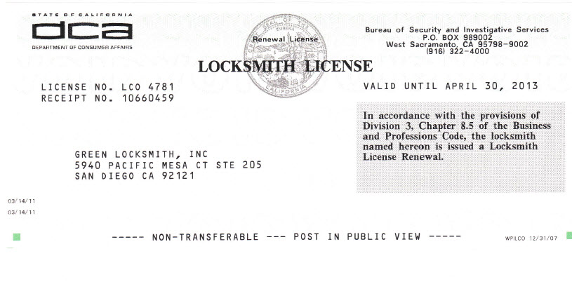 Locksmith License